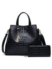 Crocodile Embossed Handbag And Wallet - Black