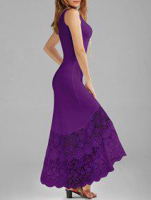 فستان أسقلوب الدانتيل لوحة ملائم ماكسي سترة - أرجواني L