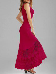 فستان أسقلوب الدانتيل لوحة ملائم ماكسي سترة - الأحمر الكرزي M