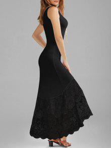 فستان أسقلوب الدانتيل لوحة ملائم ماكسي سترة - أسود Xl