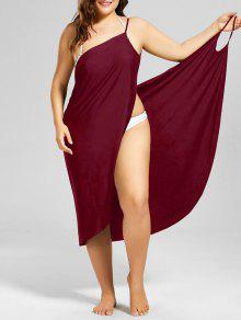 Buy Plus Size Beach Cover-up Wrap Dress - WINE RED 5XL