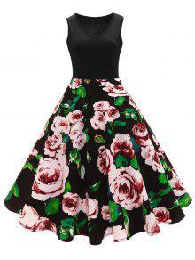 فستان كلاسيكي طباعة الأزهار على خط  A خصر عالي - أسود L