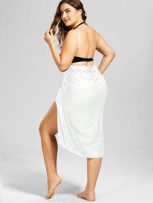 289d65491bf 32% OFF  2019 Plus Size Beach Cover-up Wrap Dress In WHITE