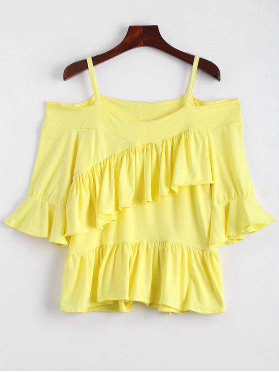 chic Asymmetrical Ruffles Cold Shoulder Top - YELLOW S