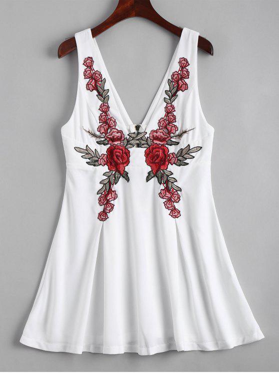 ظهر زيبر الأزهار مطرز اللباس مصغرة - أبيض 2XL