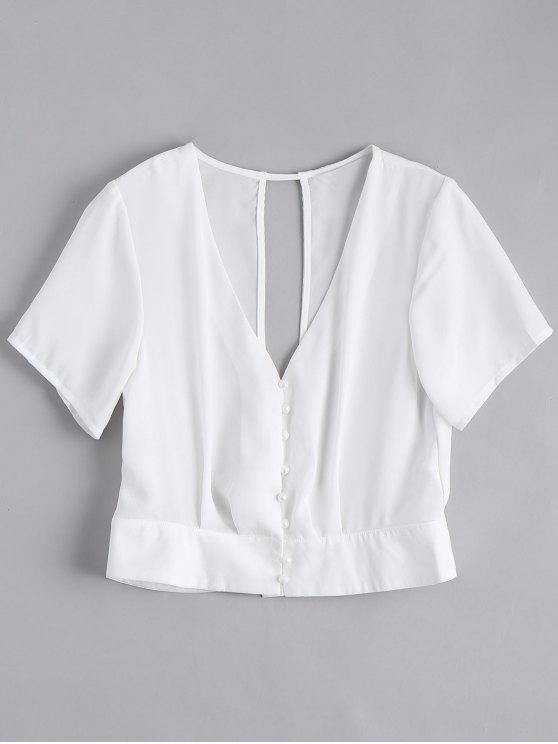 women Cut Out Button Up Chiffon Top - WHITE S
