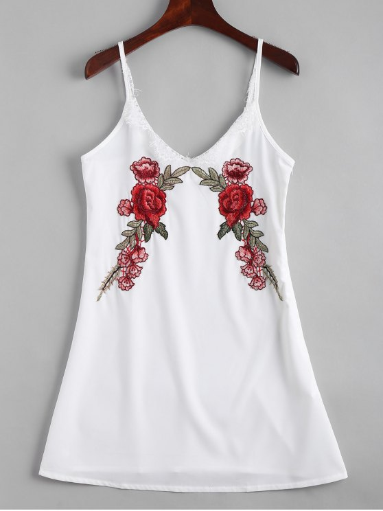 unique Lace Panel Floral Embroidered Slip Dress - WHITE M