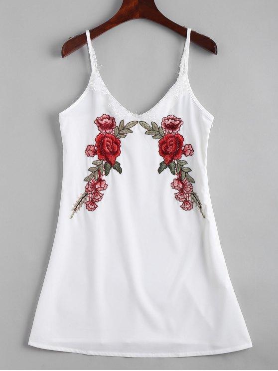 unique Lace Panel Floral Embroidered Slip Dress - WHITE M