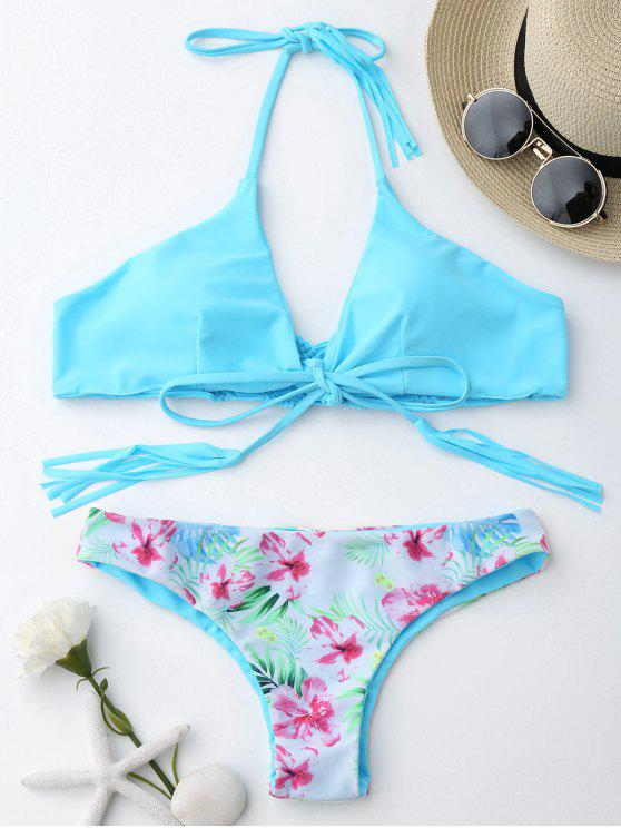 lady Macrame Tropical Print Wrap Bikini Set - BLUE L