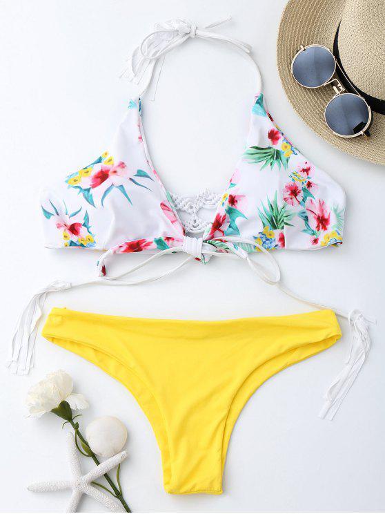 hot Macrame Tropical Print Wrap Bikini Set - YELLOW M