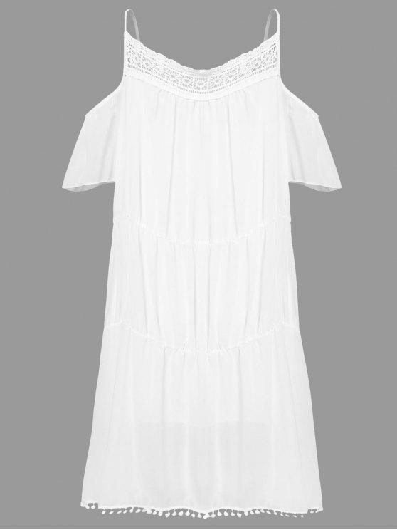 women's White With Lace Off The Shoulder Dress - WHITE L