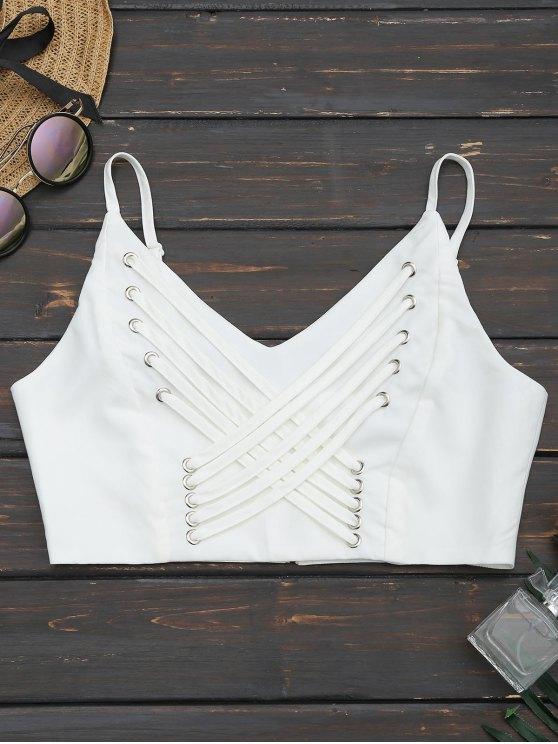 women Back Zipper Criss Cross Crop Top - WHITE 2XL