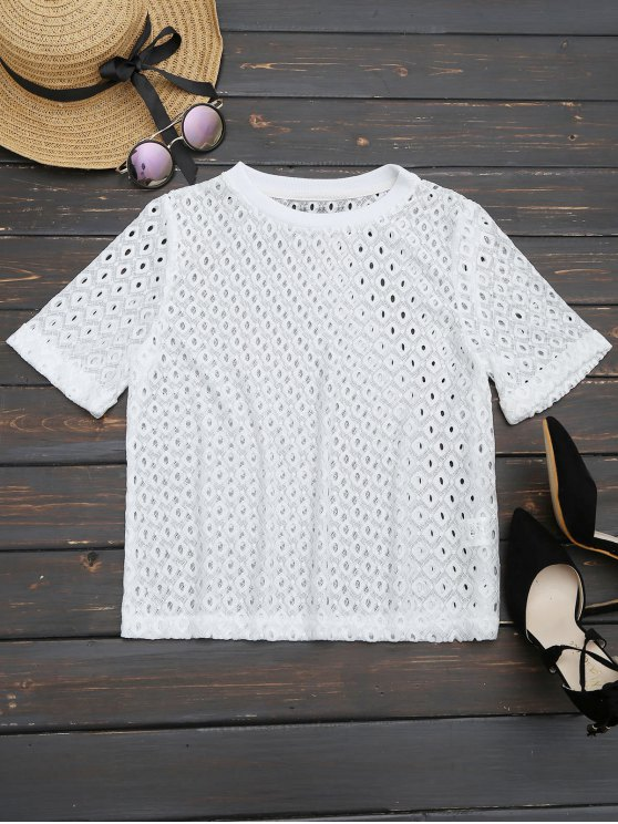 hot Curled Sleeve Sheer Lace Top - WHITE M