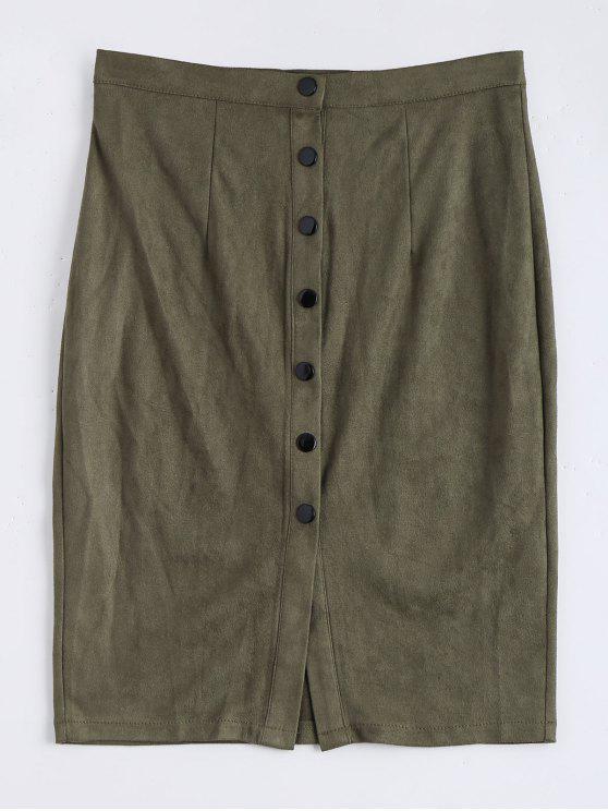 Faux Suede Button Up Falda de lápiz - Verde del ejército L