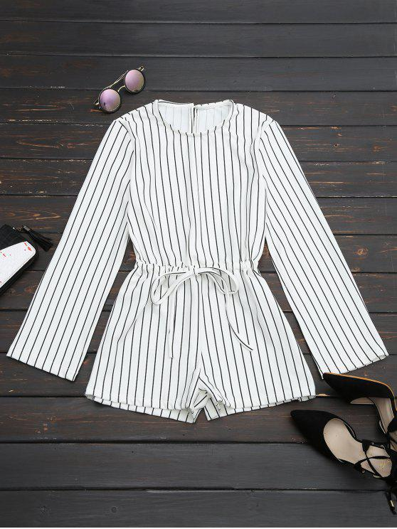 best Slit Sleeve Drawstring Striped Romper - BLACK STRIPE ONE SIZE