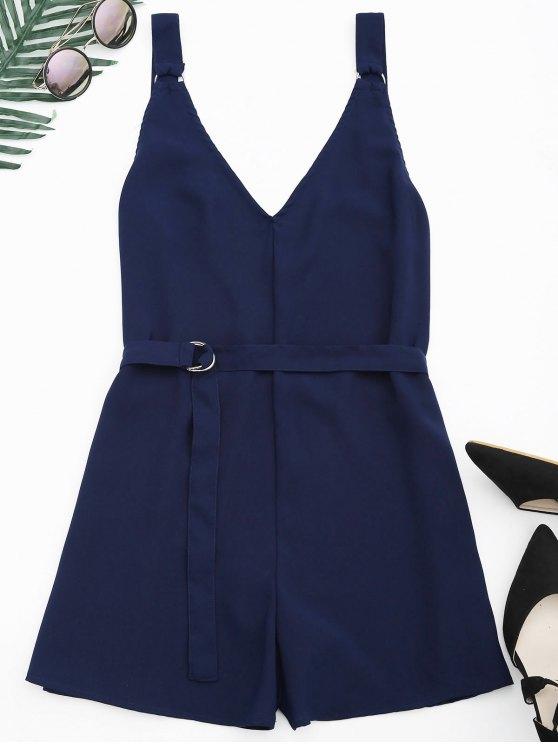 hot Backless Belted Chiffon Romper - PURPLISH BLUE L