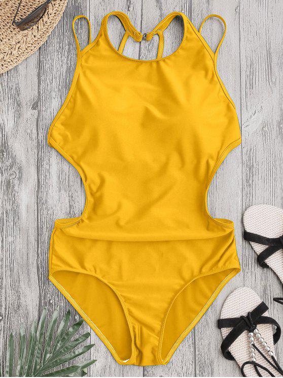 shop Padded Back Strappy Swimwear - YELLOW L
