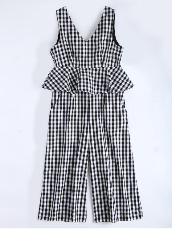 fashion Sleeveless Flounce Checked Jumpsuit - CHECKED M