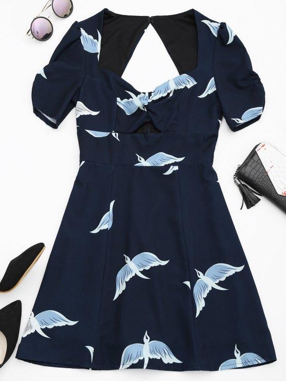 women's Cut Out Bird Graphic A-Line Dress - PURPLISH BLUE XL