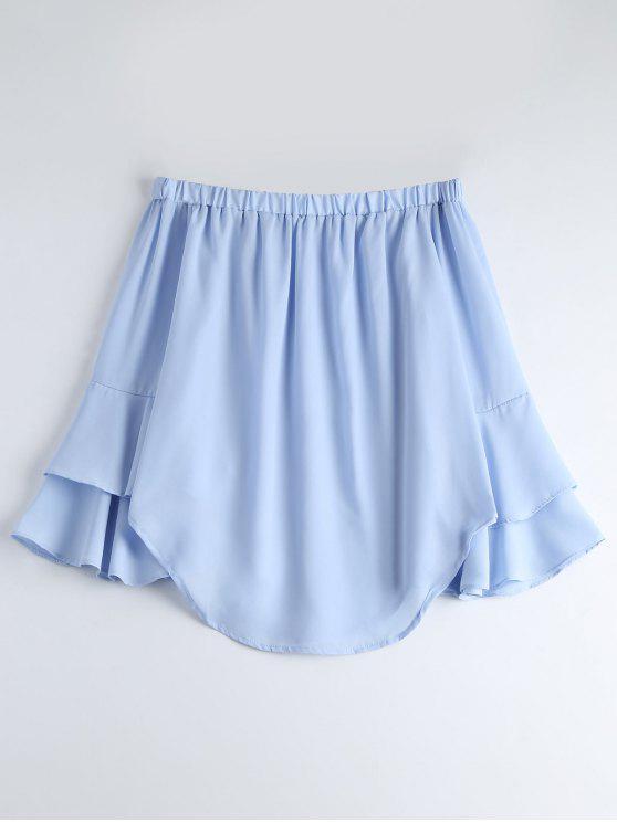 shops Off The Shoulder Tiered Flare Sleeve Blouse - LIGHT BLUE M