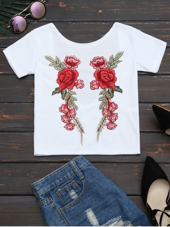 Camiseta de punto con remaches con remiendo floral - Blanco XL