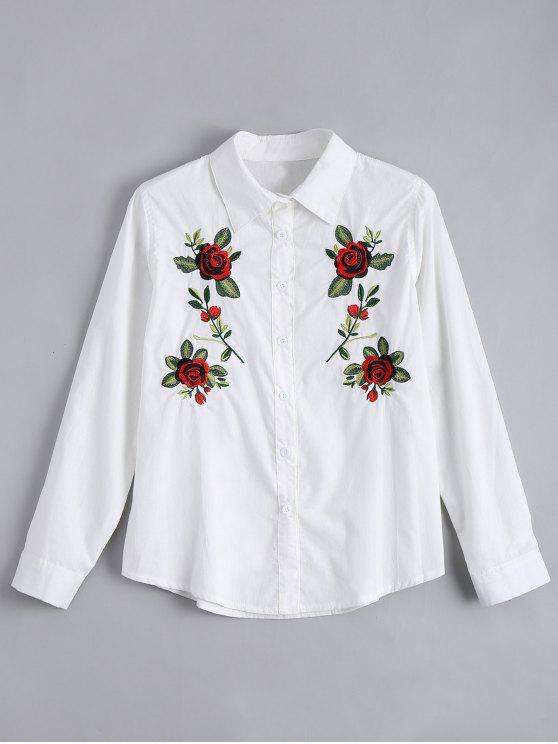 شيرت زر مرقع بالأزهار - أبيض M