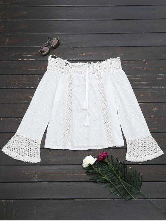 new Off The Shoulder Lace Panel Tassels Blouse - WHITE M