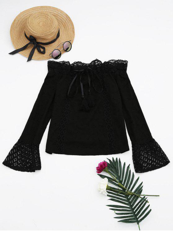 shop Off The Shoulder Lace Panel Tassels Blouse - BLACK L