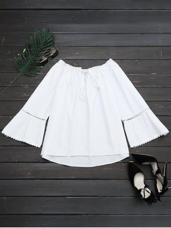 fashion Ruffle Hem Cut Out Blouse - WHITE M
