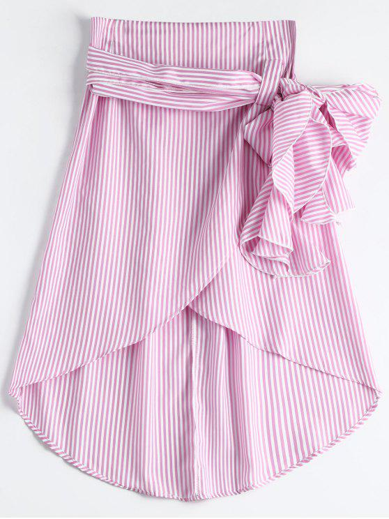 sale High Waist Ruffled Striped Asymmetric Skirt - PINK M