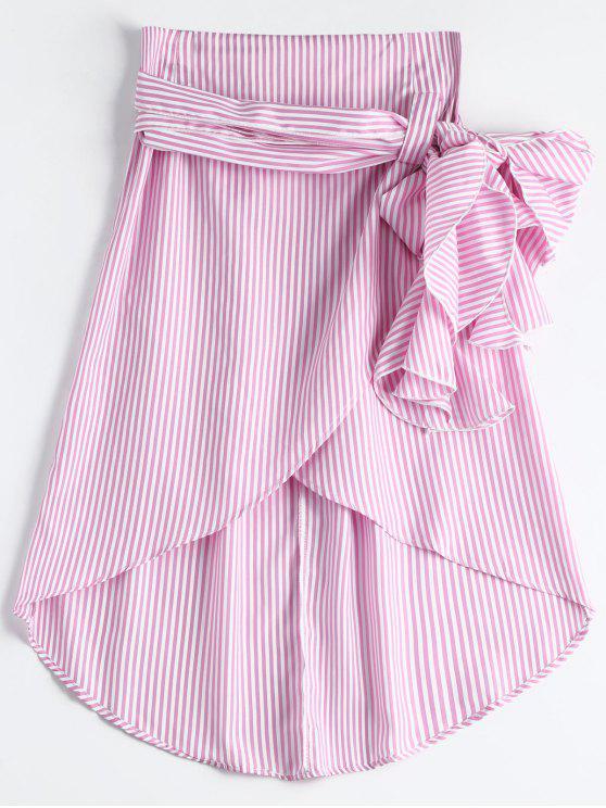 sale High Waist Ruffled Striped Asymmetric Skirt - PINK M