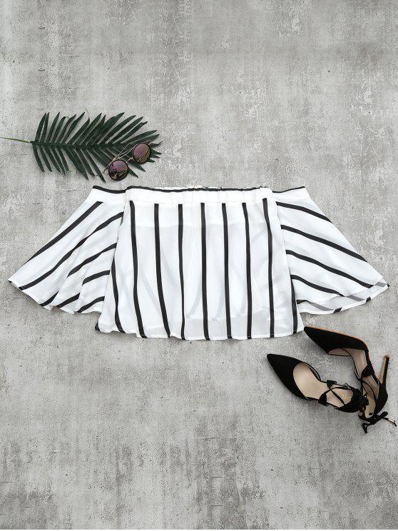 De la blusa rayada de la manga de la llamarada del hombro - Blanco L