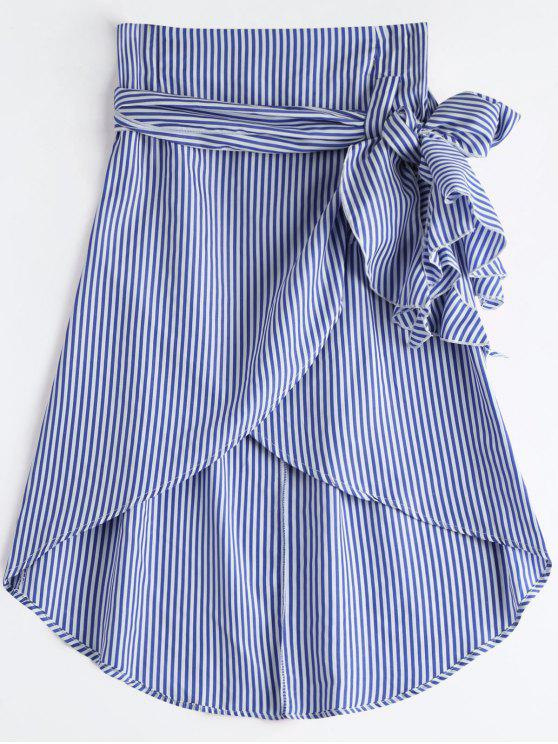 best High Waist Ruffled Striped Asymmetric Skirt - BLUE L