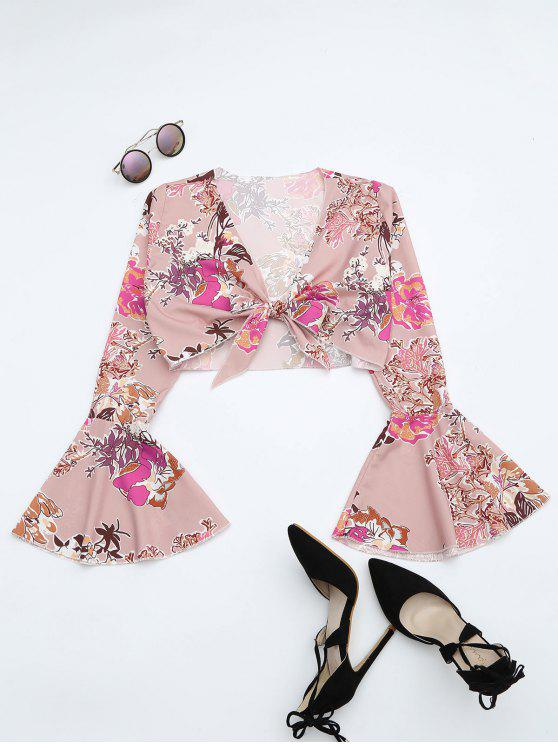 lady Floral Print Flare Sleeve Crop Blouse - FLORAL S