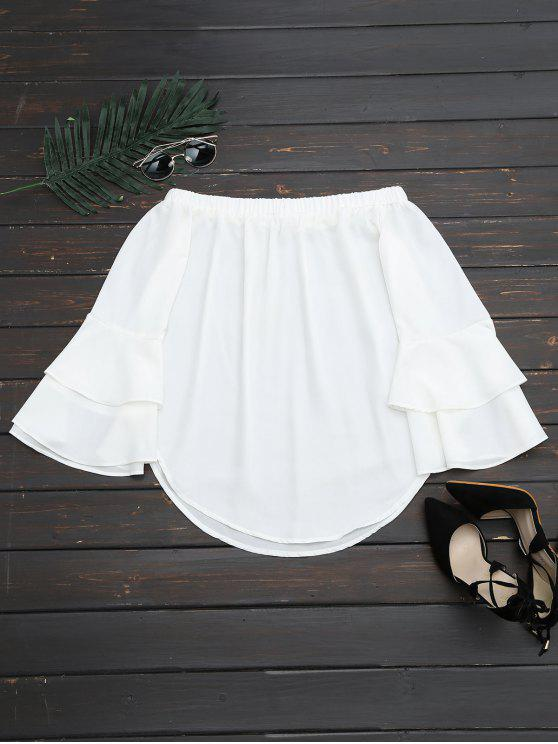 shop Off The Shoulder Tiered Flare Sleeve Blouse - WHITE M