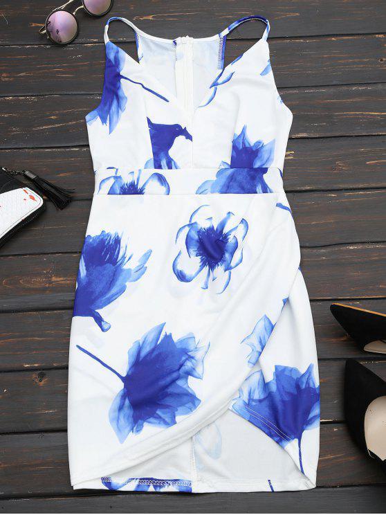 Vestido Ajustado Escotado con Tirante Fino con Estampado Floral - Blanco M