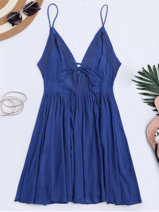 best Plunge Low Back Lace Up Sundress - BLUE L