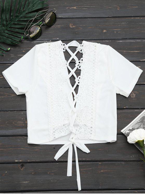 unique Plunging Neck Back Lace Up Crop Top - WHITE XL