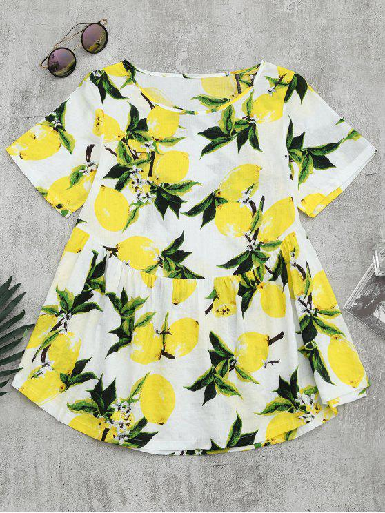 women Round Collar Lemon Print Blouse - WHITE L
