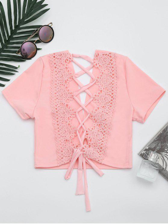 women's Plunging Neck Back Lace Up Crop Top - PINK M