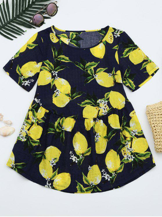 online Round Collar Lemon Print Blouse - DEEP BLUE XL