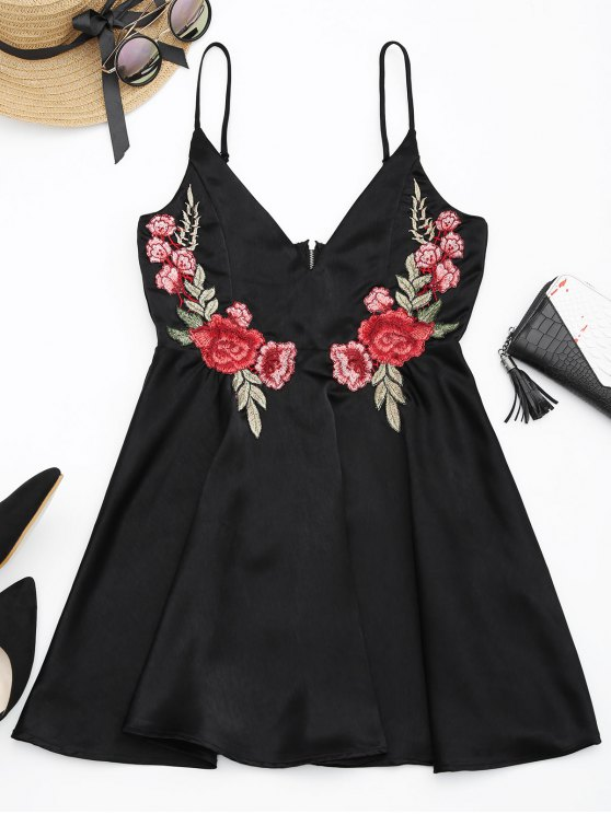 Floral Embroidered Patched Slip A-Line Dress - Black 2xl