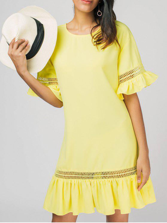 fancy Ruffles Sheer Casual Dress - YELLOW XL