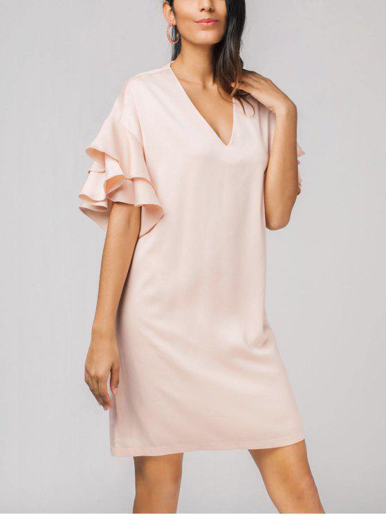 كشكش الطبقات V فستان الرقبة - زهري S
