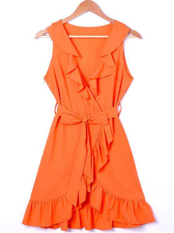 ladies Ruffle Trim Surplice Mini Sun Dress - ORANGE L