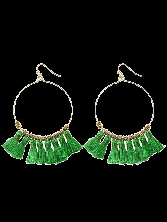 outfit Tassels Cicle Hoop Drop Earrings - GREEN