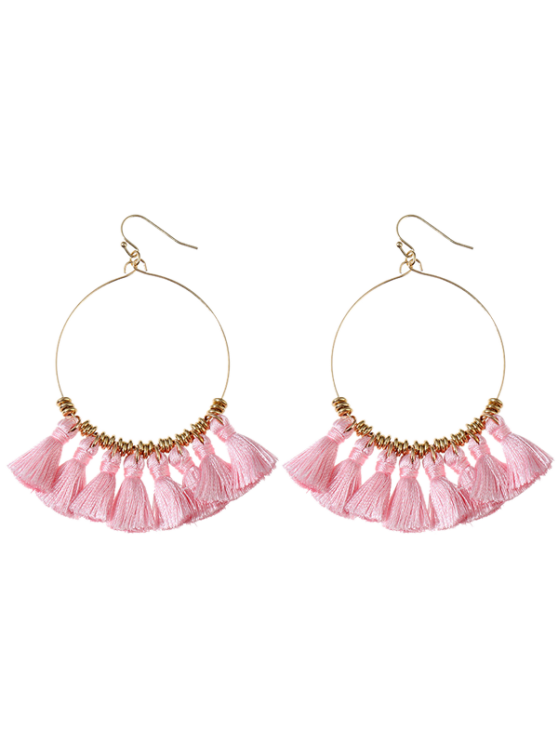 shop Tassels Cicle Hoop Drop Earrings - PINK