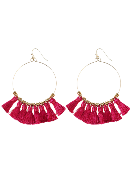 Tassels Cicle Hoop Drop Earrings - Rosa vermelha