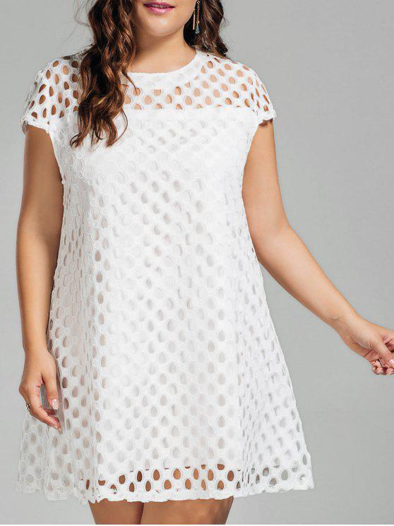 فستان الحجم الكبير دانتيل ذو فتحات - أبيض XL