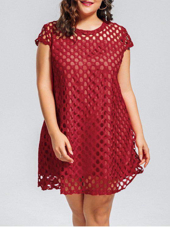 outfit Lace Plus Size Cut Out Dress - RED 4XL